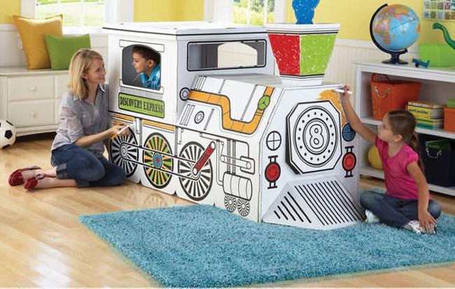 Cardboard train art