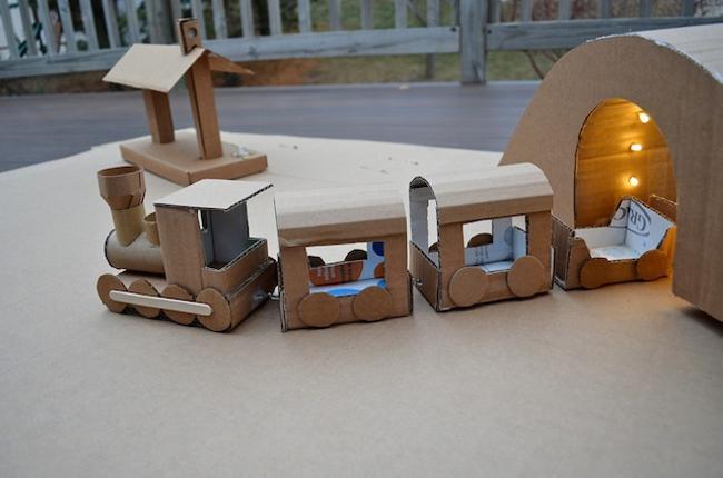 Kids Fun with Cardboard Train