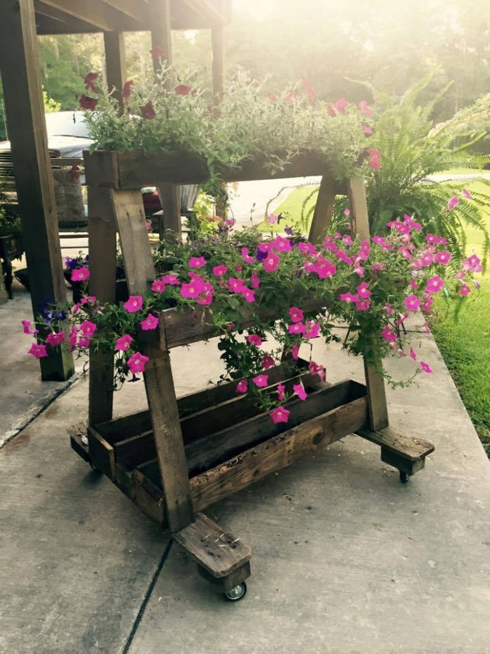 Pallet Flower Planter on Wheels