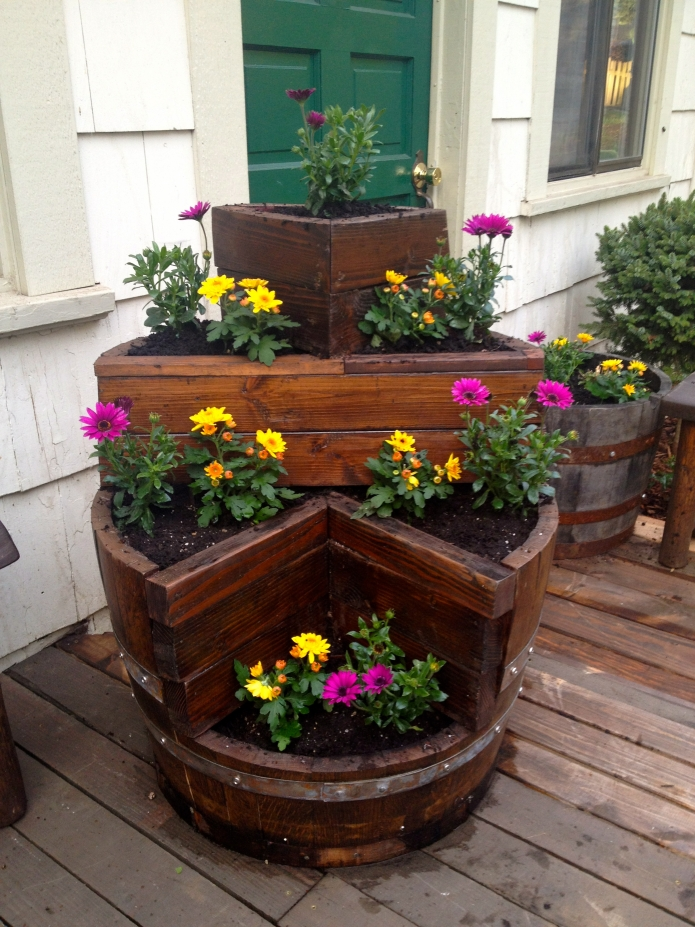 Pallet Wine Barrel Planter