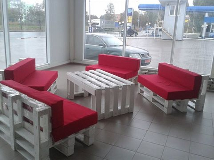 Pallets furniture in autoshop