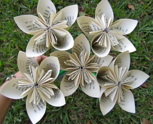 Recycled Book Paper Flowers