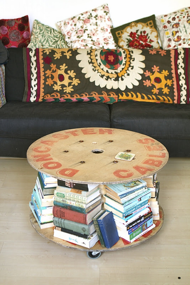 Recycled Cable Reel Book Table