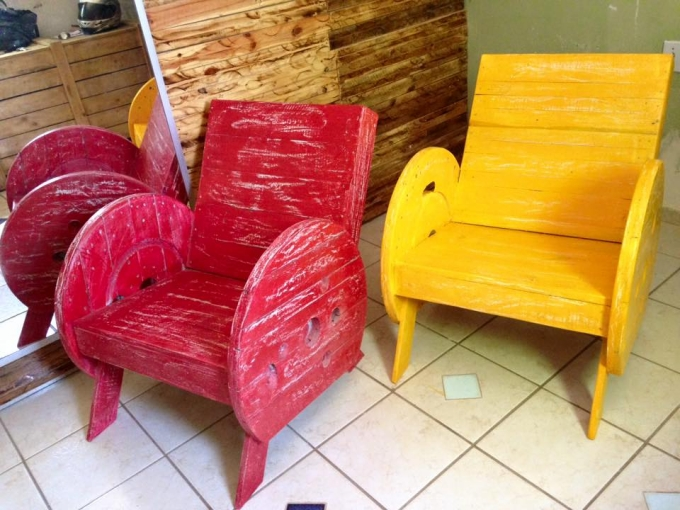 Recycled Cable Spool Chairs