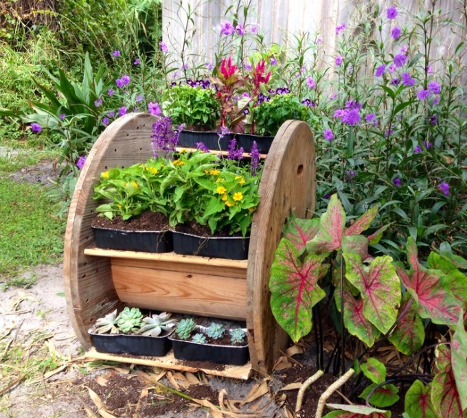 Recycled Cable Spool Planter