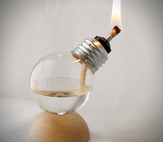 Recycled Light Bulb Oil Lamps