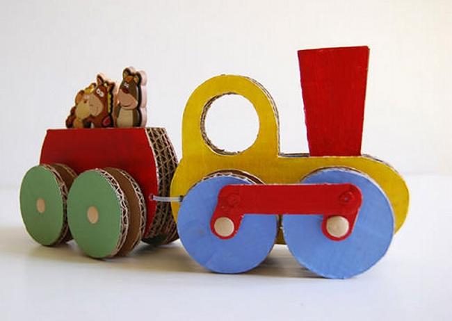 Repurposed Cardboard Train