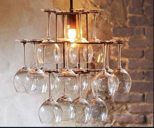 Repurposed Wine Glass Chandelier