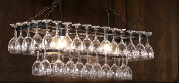 Reused Wine Glass Chandelier