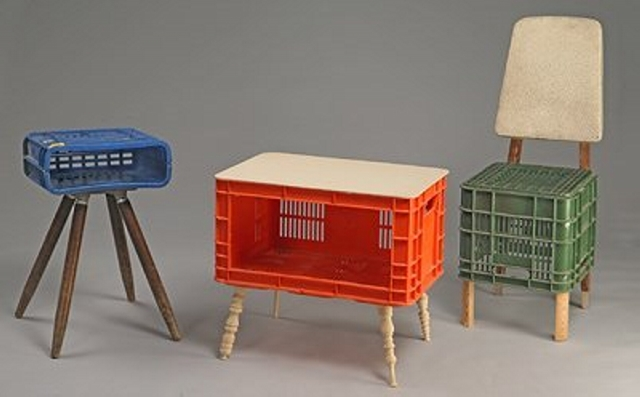 Reusing Milk Crates for Stools