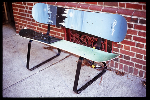 Snowboard Reclaimed Bench