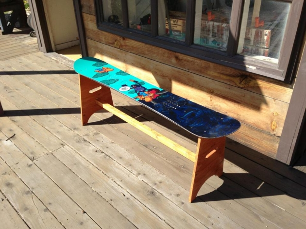 Snowboard Repurposed Bench
