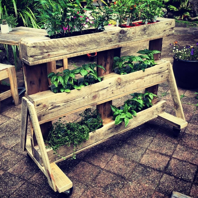 Three Tiered Pallet Herb Planter