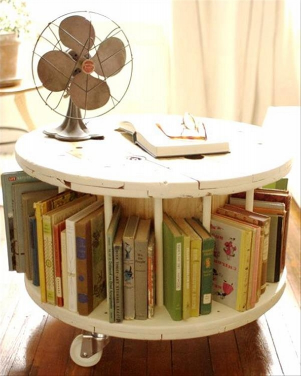 Upcycled Cable Reel Book Table