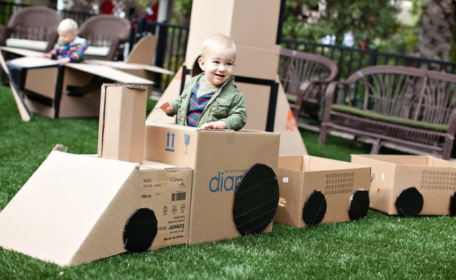 Upcycled Cardboard Train