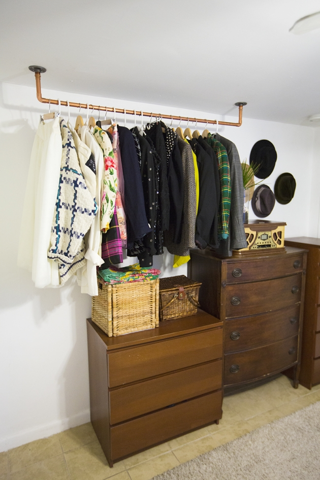 Upcycled Copper Pipe Hanging Wardrobe