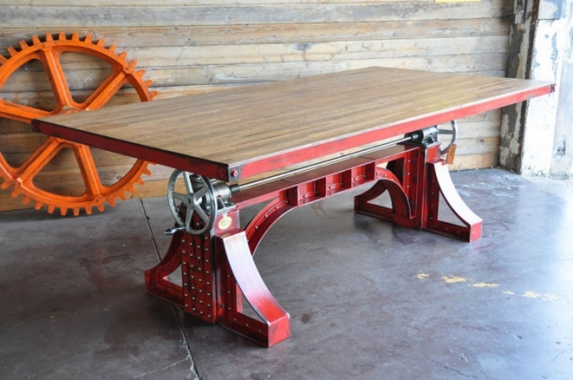 Upcycled Insdustrial Crank Table