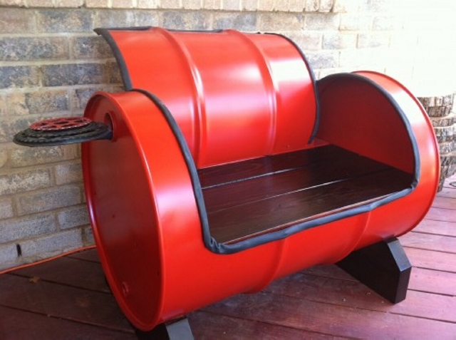 Upcycled Metal Drum Bench