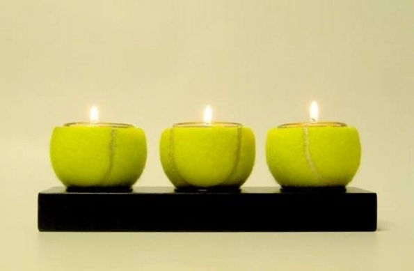 Upcycled Tennis Ball Candles