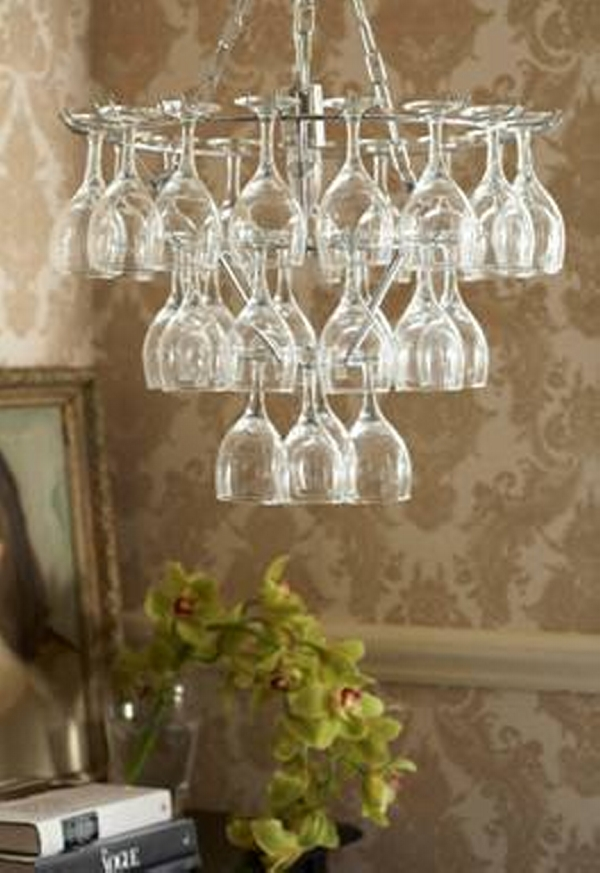 Upcycled Wine Glass Chandelier