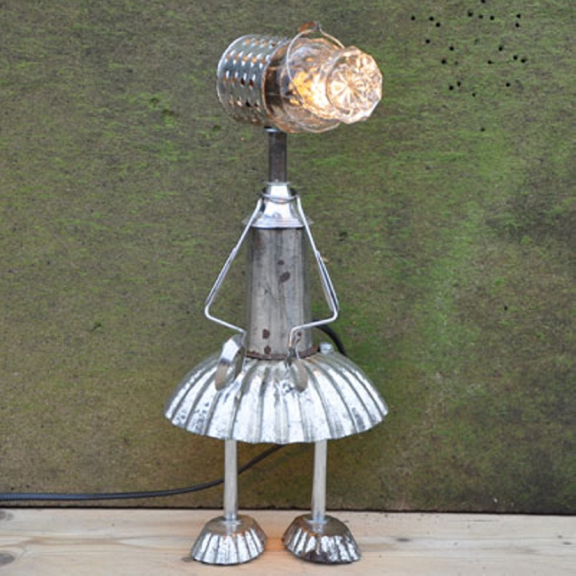 Upcycled vintage kitchenware light