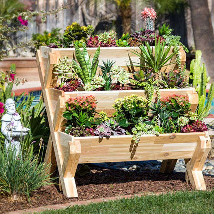 Multi tier pallet planters gardens upcycle art for Wood pallet herb garden