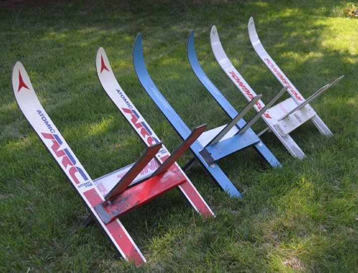 made of upcycled skis