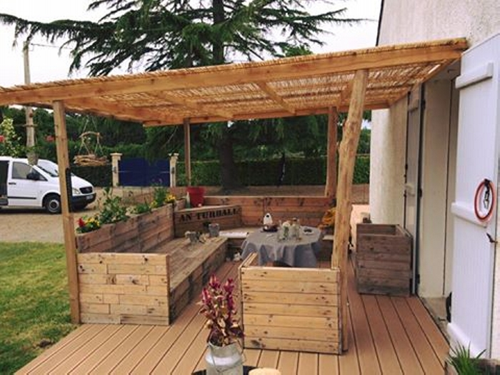 Reuse old pallet to make patio furniture upcycle art for Wood pallet gazebo