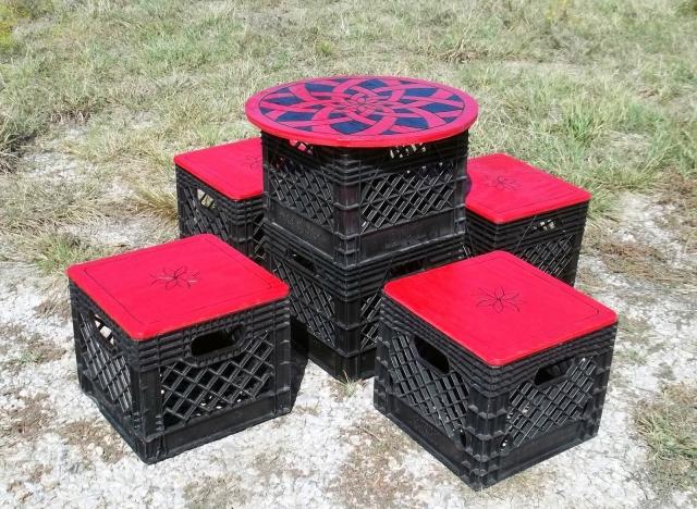 reclaimed crates furniture set