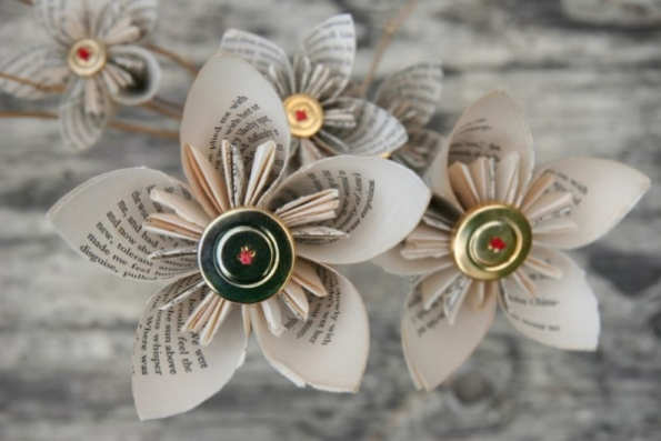 recycled book pages flowers