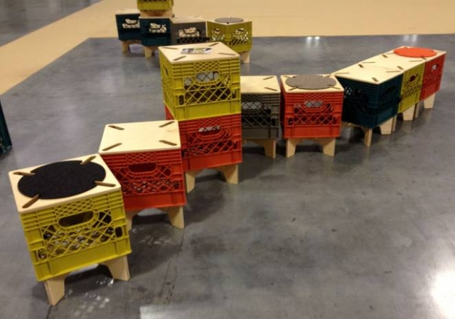 recycled milk crate stools