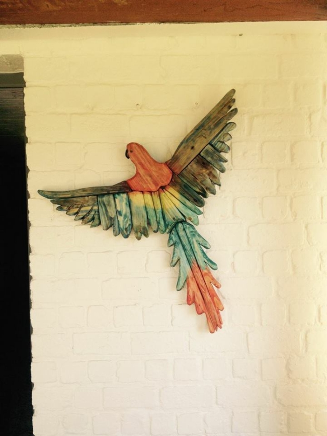 recycled pallet bird
