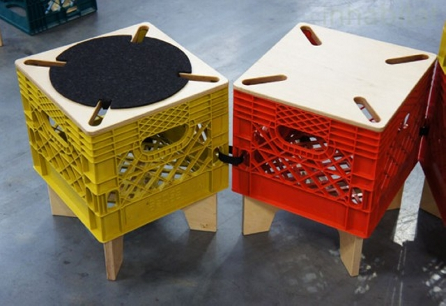 recycled plastic crate stools