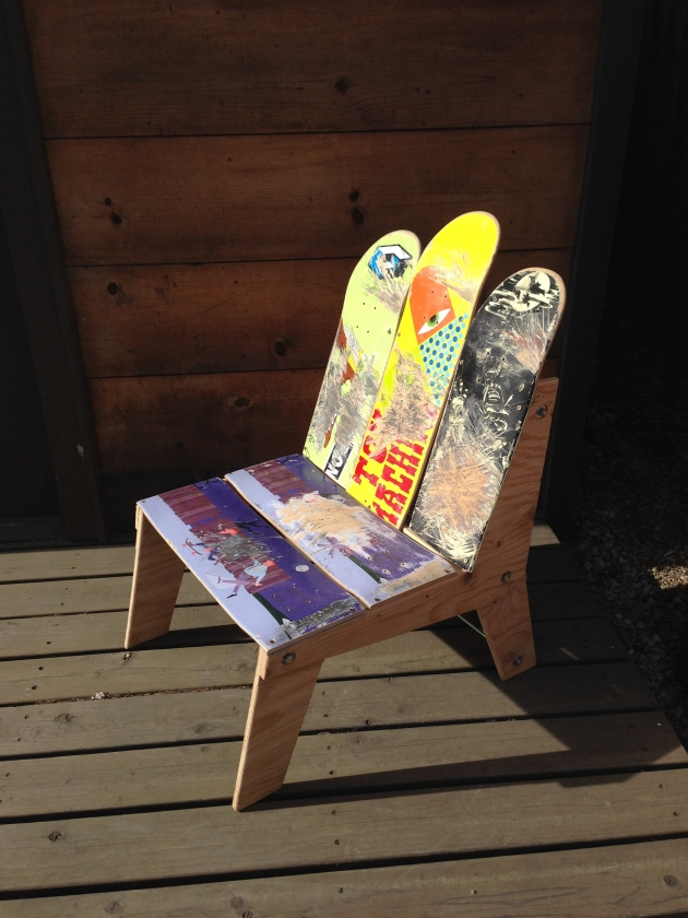 skateboard recycled chair