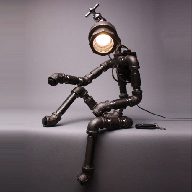 upcycle pipe robot lamp art