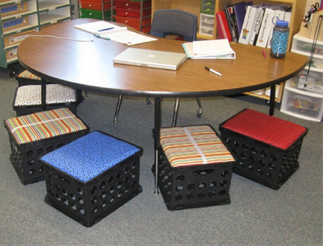 upcycle plastic crates into stools