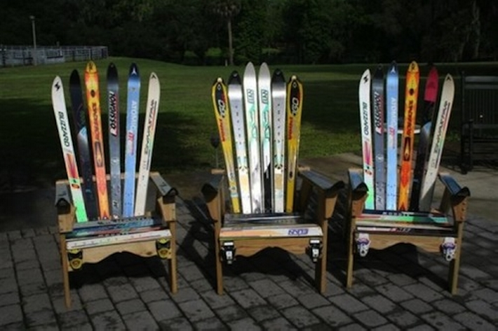 upcycled skis garden chairs