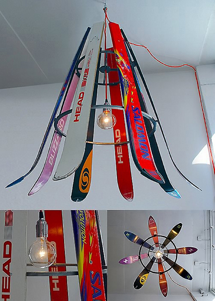 upcycled skis home decor