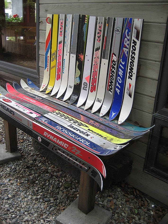 upcycled skis patio bench