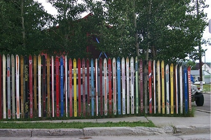 upcycled skis patio fence