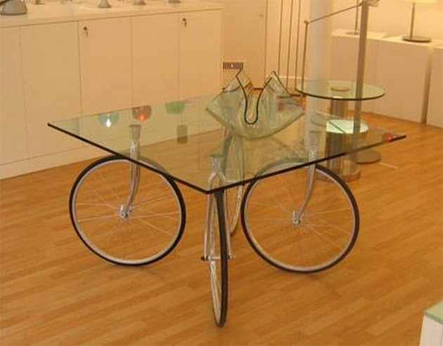 Bike Wheels Glass Top Table