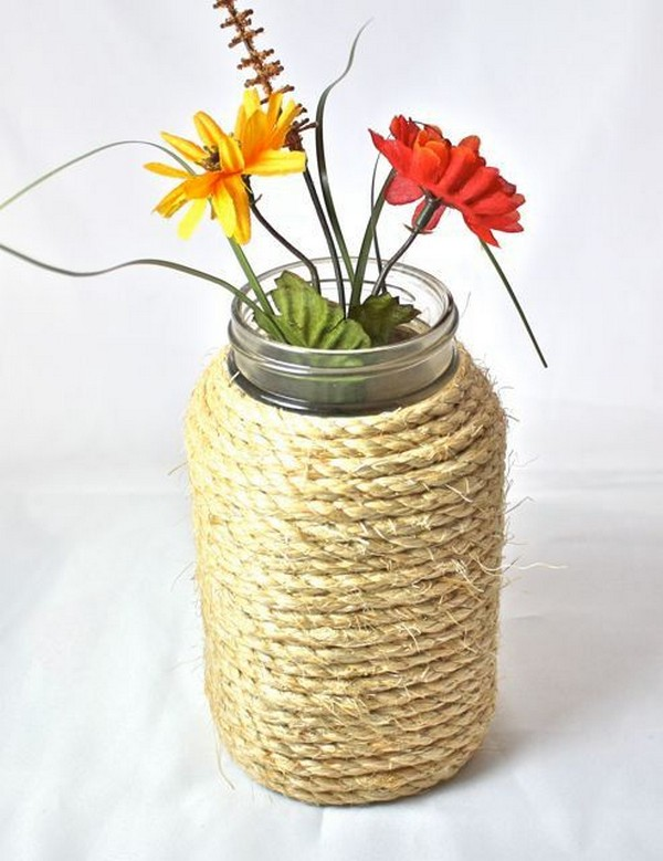 Nautical Rope Wrapped Mason Jar