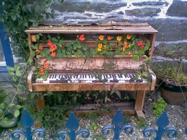 Old Piano Recycled Planter