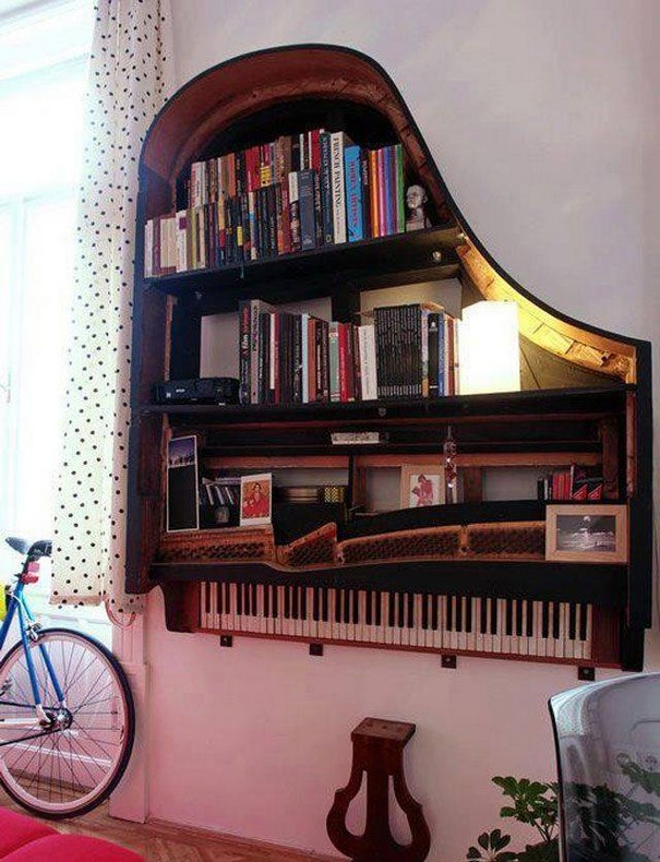 Old Pianos Reused Bookshelf