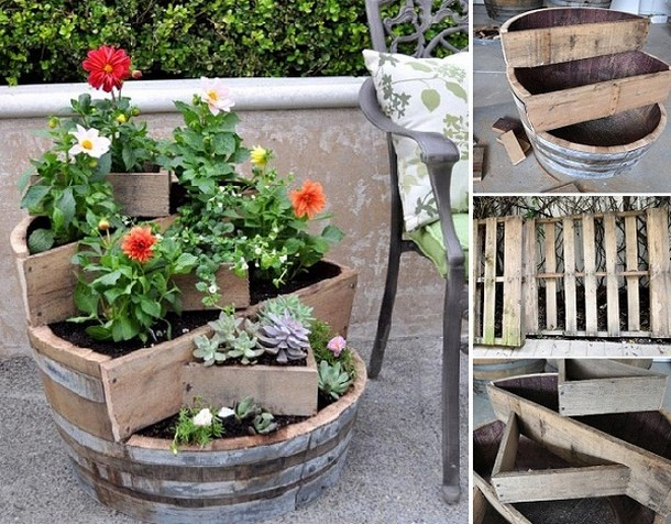 Recycled Pallet Barrel Planter
