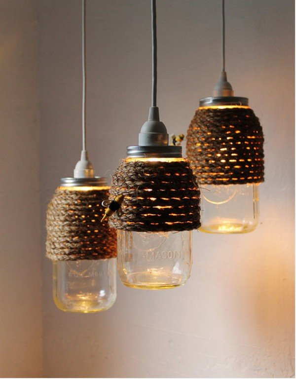 Sisal Rope Jar Lighting
