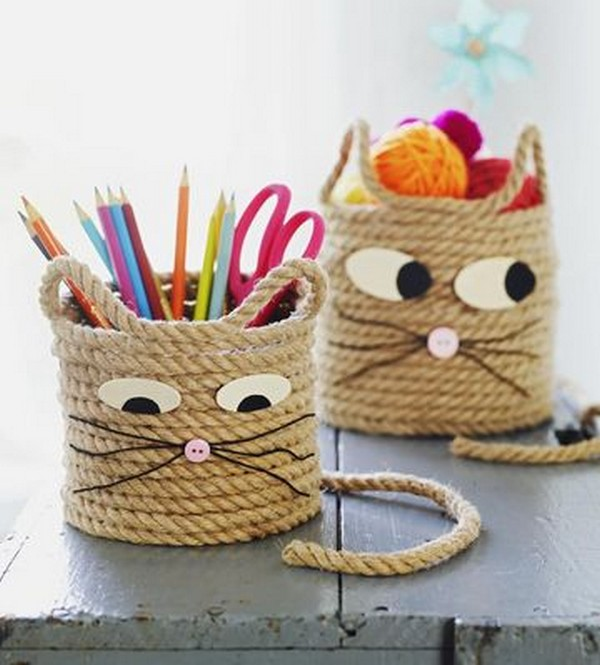 Sisal Rope cat storage baskets