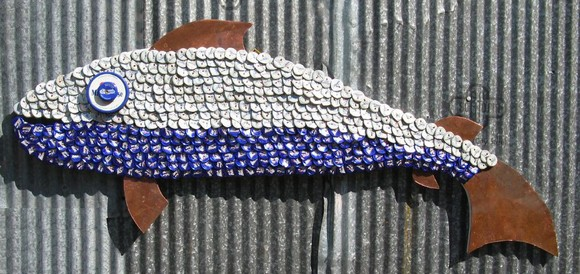 bottle caps recycled fish