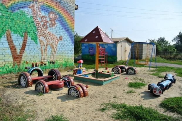 kids play ground with recycled tyres