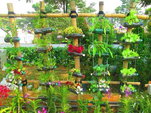 plastic bottles garden planters